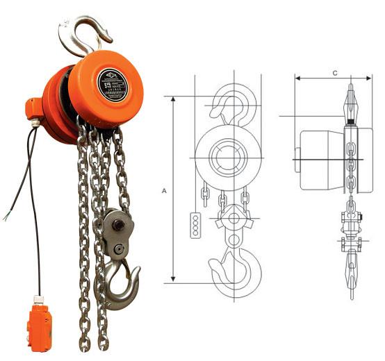 DHT环链电动葫芦平面结构图
